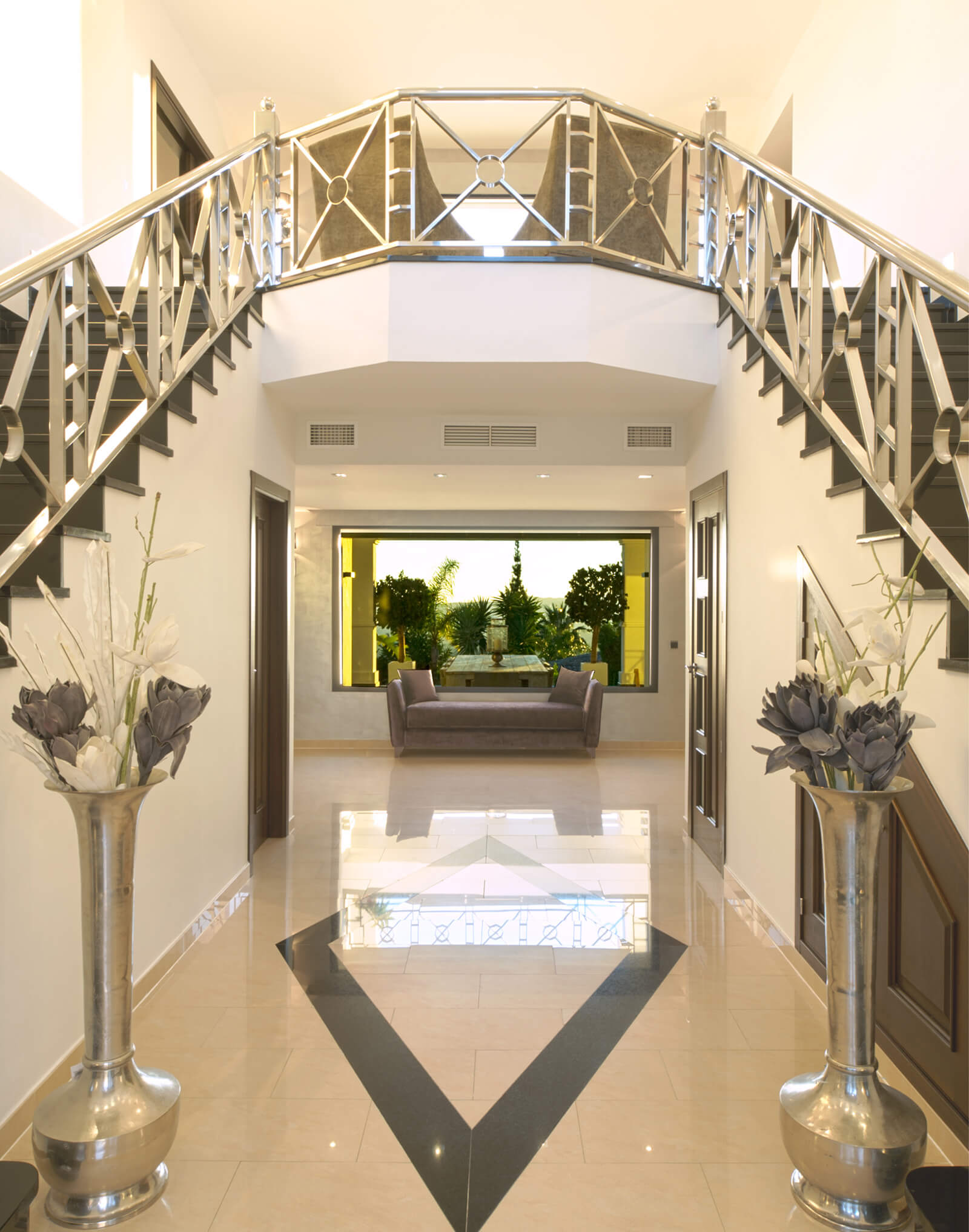 Contemporary Colonial Style Villa entry hallway