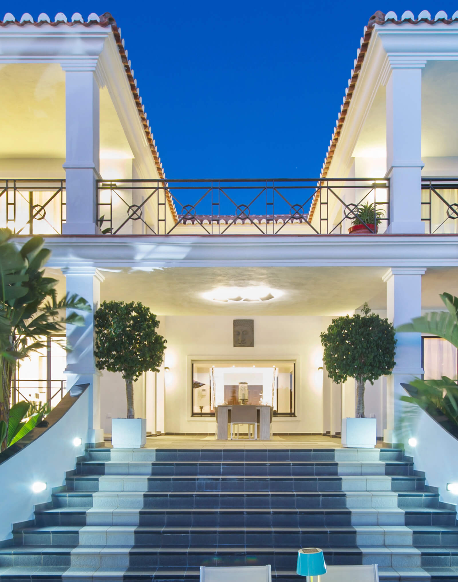 Contemporary Colonial Style Villa exterior stairs