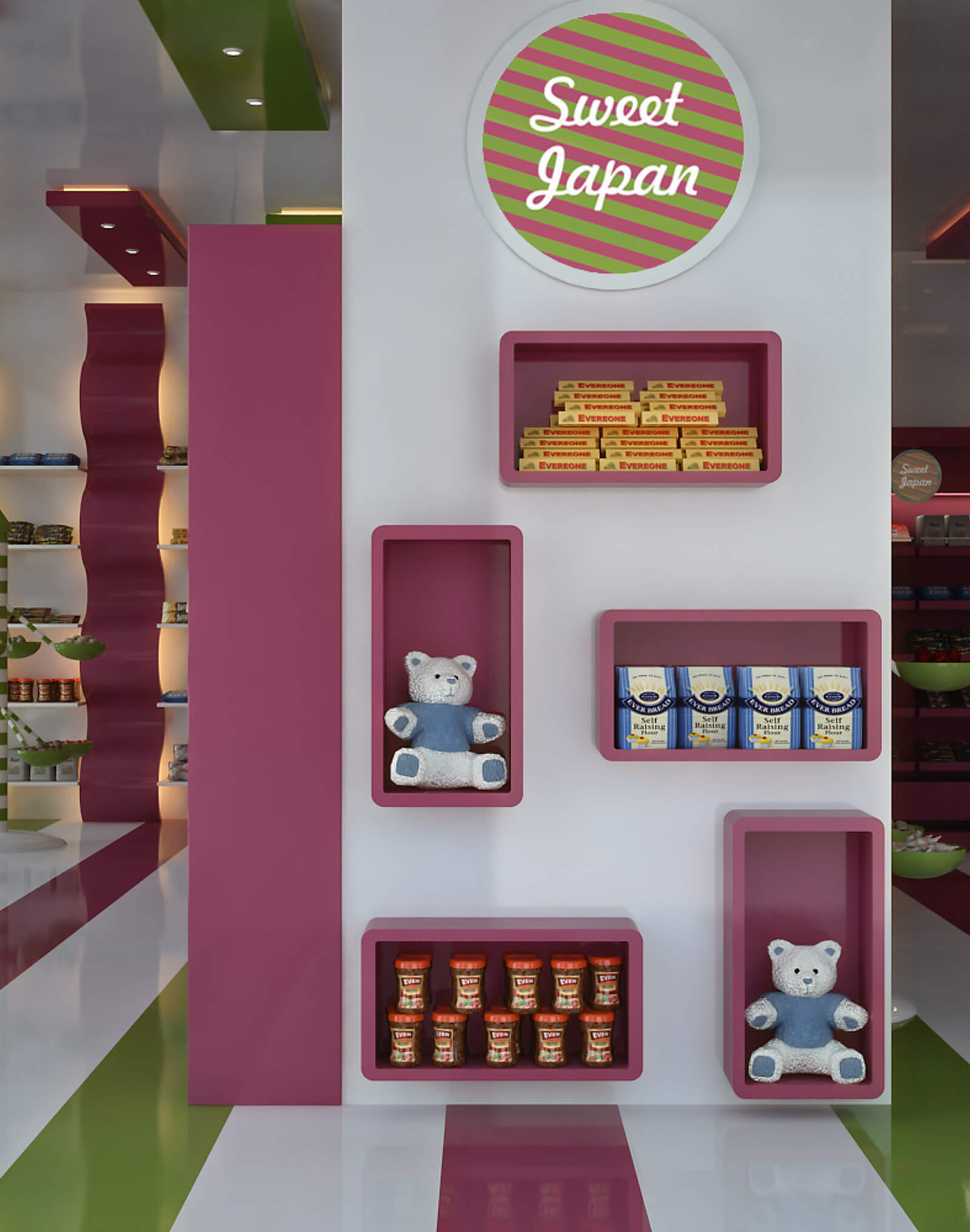Japan Sweet Shop wall exposition