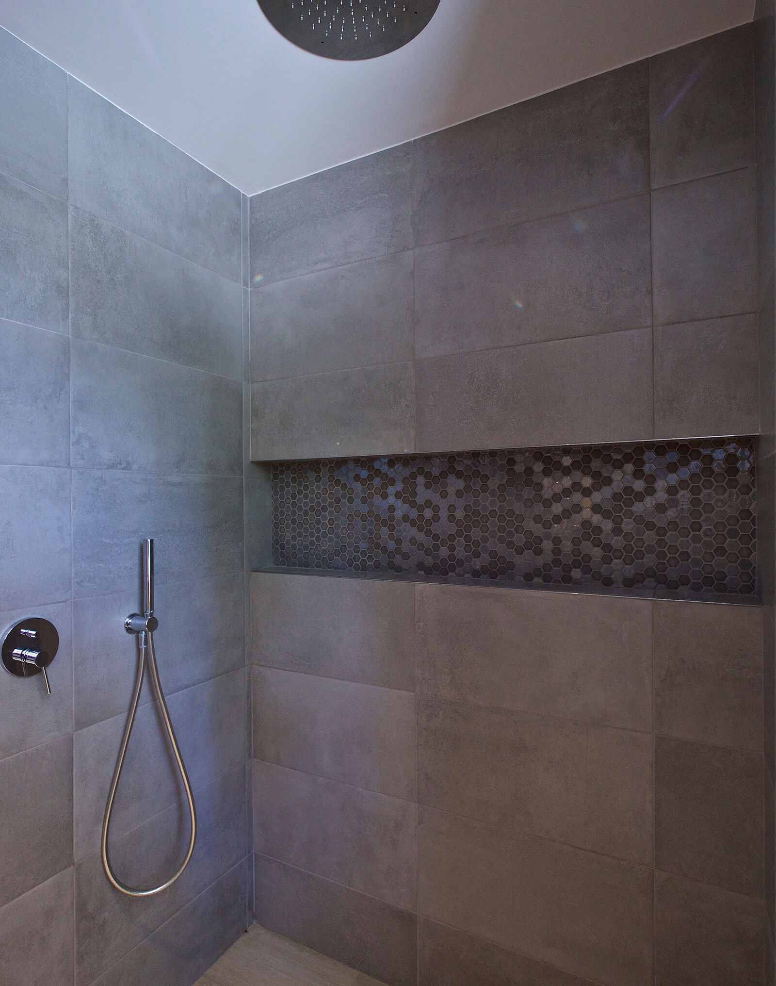 Modern Family Residence shower tiles
