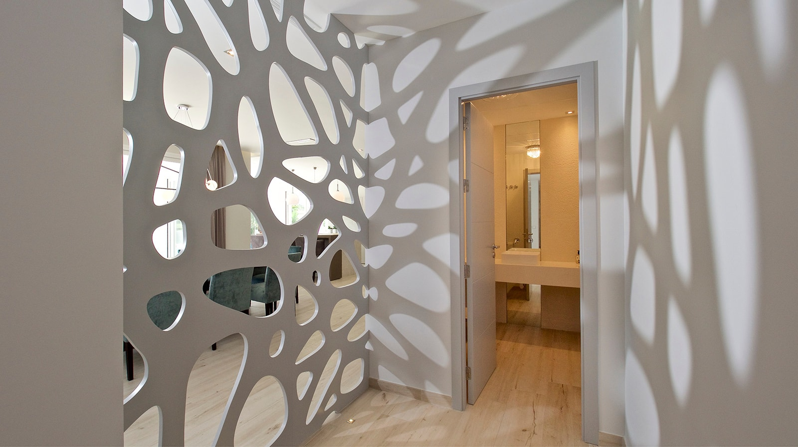 Modern Family Residence wall details hallway